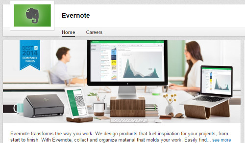 Evernote LinkedIn Company Page