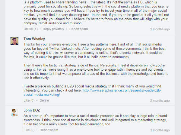 LinkedIn Marketing Content Group Discussion
