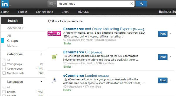 LinkedIn Marketing Ecommerce Groups