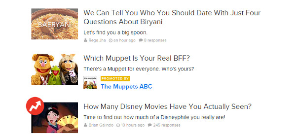 Interactive Content - BuzzFeed Quizzes